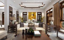 Gợi ý thiết kế phòng khách theo phong cách Đông Dương